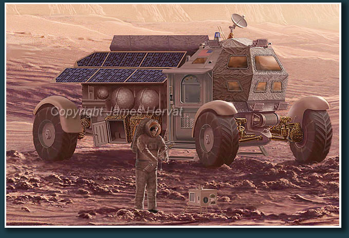 Detail view of Mars rover vehicle